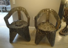 Pair of faux bois chairs